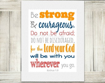 Boys Room Decor, Kids Bedroom, Boys Bedroom, Kids Room Decor, Kids Room, Bible Wall Art, Scripture, Joshua 1:9, Be Strong and Courageous
