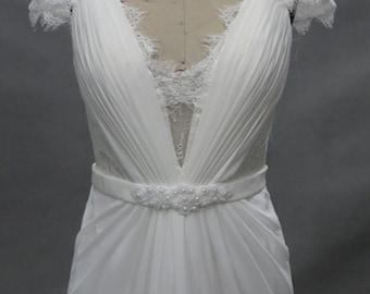 Lace Open Back Bohemian Beach Wedding Dress with Sash