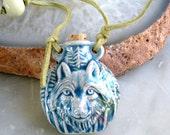 Wolf/ Blue Spirit Wolf Message Jar/ Leather Cord/ Blue Glazed Ceramic/ Animal Spirit / Native Inspired/ Gift for Him/ Gift for Her
