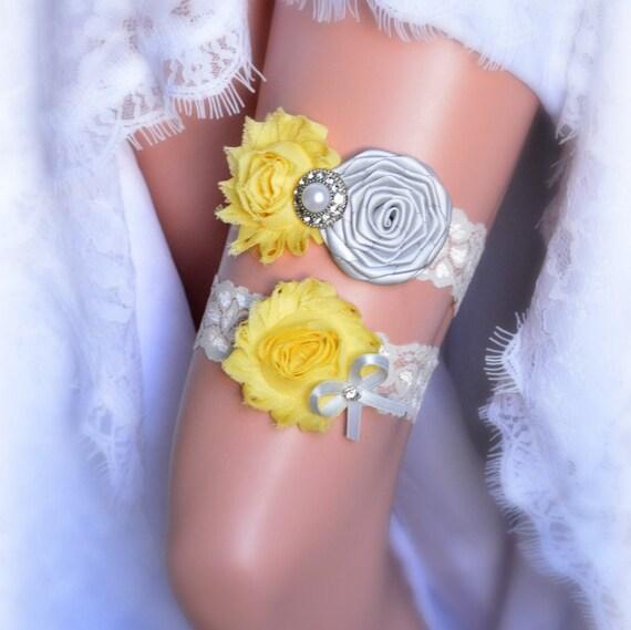 Beach Wedding Garter: Gray Yellow Rustic Bridal Garter Belt Wedding Set Vintage Toss