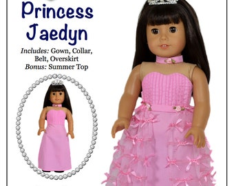 Pixie Faire Love U Bunches Princess Jaedyn Doll Clothes Pattern for 18 inch AG Dolls - PDF