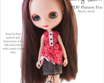Pixie Faire Aha Customs Maddy Lou Dress Doll Clothes Pattern for Blythe Dolls - PDF