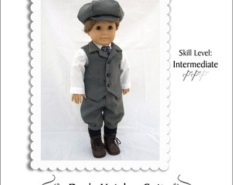 Pixie Faire Kindred Thread Boy's Knicker Suit Doll Clothes Pattern for 18 inch American Girl Dolls - PDF