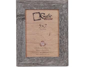 """5x7 -1.5"""" wide Rustic Barn Wood Standard Photo Frame"""