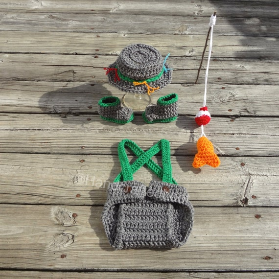 Crochet fishing outfit baby fisherman set by handcraftedloot for Baby fishing outfit