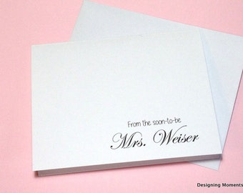 Bridal Shower Thank You Cards, Wedding Thank You, Personalized Bridal Shower Thank You Cards, Soon to be Mrs. cards, Wedding Bridal Shower