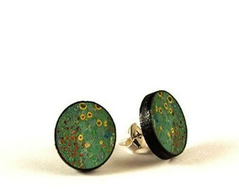 Floral - Gustav Klimt - handmade stud earrings - decoupage