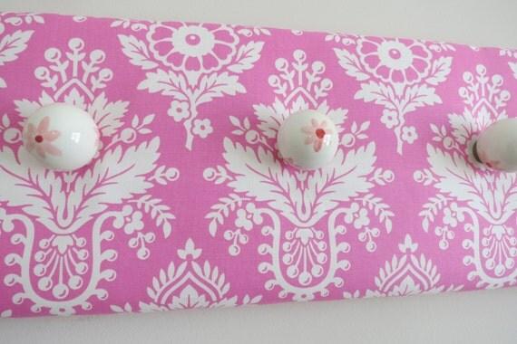 Pink Damask Wall Hooks Jewelry Board