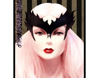 BLACK Poison Ivy superhero leather mask crone cosplay headdress headband comicon costume Batman and Robin masquerade sexy carnival halloween