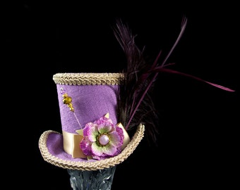 Lavender and Toffee Velvet Flower and Plume Medium Mini Top Hat Fascinator, Alice in Wonderland, Mad Hatter Tea Party, Derby Hat