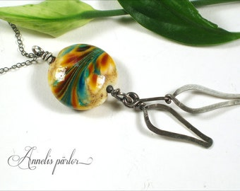Lampwork glass bead and sterling silver necklace. Handmade lampwork bead, sterling silver chain, Artisan, SRA