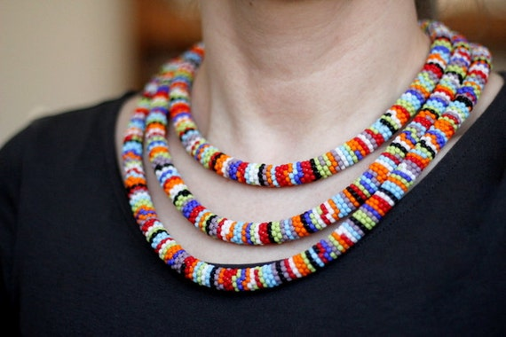 African Inspired Necklace African Necklace Bead Crochet