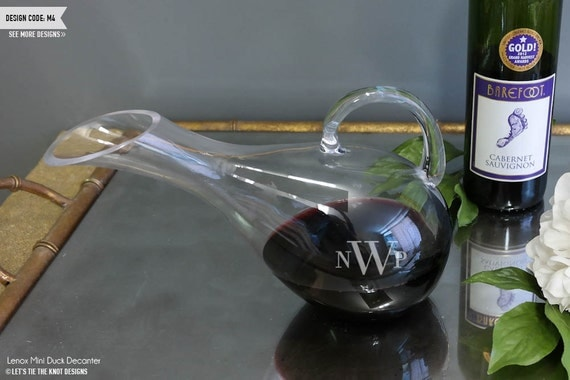 Lenox Wedding Gifts: Lenox Gorham Mini Duck Wine Decanter Engraved Crystal Wine