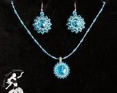 Frozen Ice Blue Swarovski Crystal Rivoli Earrings & Necklace Set