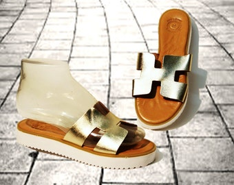 Leather sandals, women sandals, chunky sole sandals, handmade sandals, women shoes, white solid block sole, elegant gold sandals