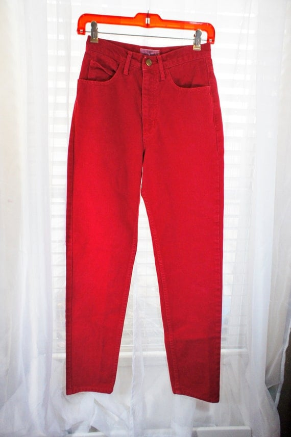 Vintage guess red denim high waisted jeans skinny tapered legs 5