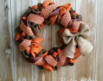 Fall Wreath, Autumn Wreath, Burlap Wreath, Orange and Brown Wreath, Rustic Wreath, Thanksgiving Wreath, Wreaths