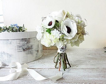 White anemones roses hydrangea Tendrils Spanish moss Bride bouquet Artificial real touch silk flowers