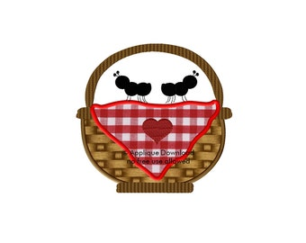 Picnic Basket Applique Design - Instant EMAIL With Download - for Embroidery Machines