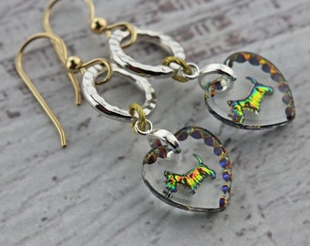 Scottie dog earrings, with vintage heart shaped glass charms, vitrail, gold filled ear wires