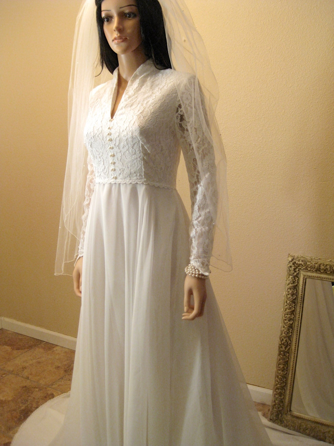 Vintage 70s wedding dress 1970s kate middleton style white for 1970 s style wedding dresses