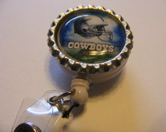 Dallas Cowboys bottlecap retractable id badge clip