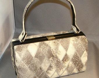 40% Sale Off Regular Price!  Fabulous Vintage Snake Skin Bucket Style Purse - Taupe, Tan, Cream - 1950s