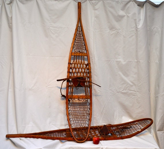 Large Vintage Wooden Snowshoes Leather By MoonshineAntiqueShop