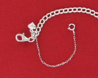 Heart Charm Bracelet with Safety Chain Custom Length, Traditional 925 Sterling Silver Jewelry