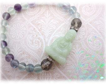 """Buddhaarmband """"Green Buddha""""  - Buddha  Armband buddhistisch Glücksarmband grün Fluorit"""