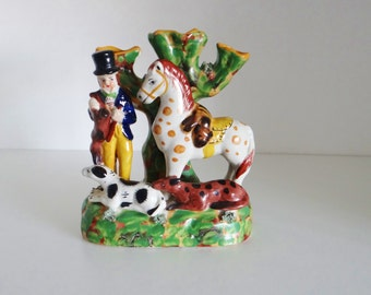 Vintage Figurines Vase Antique 1900s Staffordshire Style Figurine Spill Vase Man Horse and Dogs  - Multicoloured