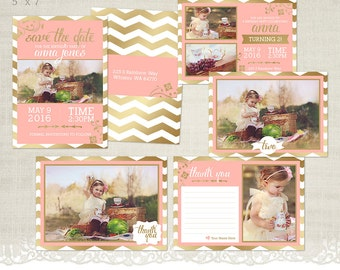 Birthday Card Photographer Template Bundle - Save the Date, Birthday Invitation, Thank You card - BD02