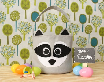 Monogrammed Raccoon Easter Basket Felt Woodland