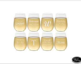 EIGHT Personalized Wine Glasses, SHIPS FAST, Etched Wine Glasses, Monogram Wine Glasses, Engraved Custom Wine Glasses for Wedding Party