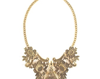 Gold filigree statement necklace, golden bib necklace, gold chunky collar necklace