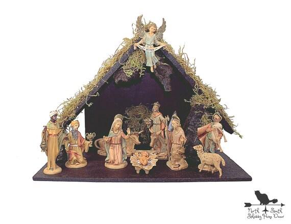 Nativity Set Stable Vintage Fontanini 12 Piece Heirloom
