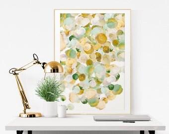 Flower Art Print, Fine Art Giclee Print, Flowers No4, gold, green, teal