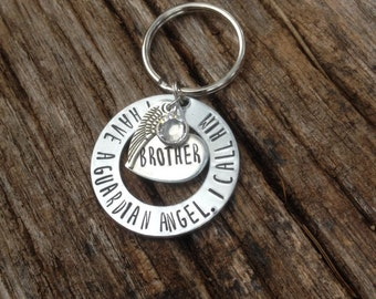 Memorial key chain - remembrance key chain - sympathy gift - memorial gift - rememberance gift - guardian angel - personalized gift - custom