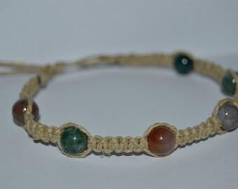 Multi-Color Jasper Hemp Bracelet