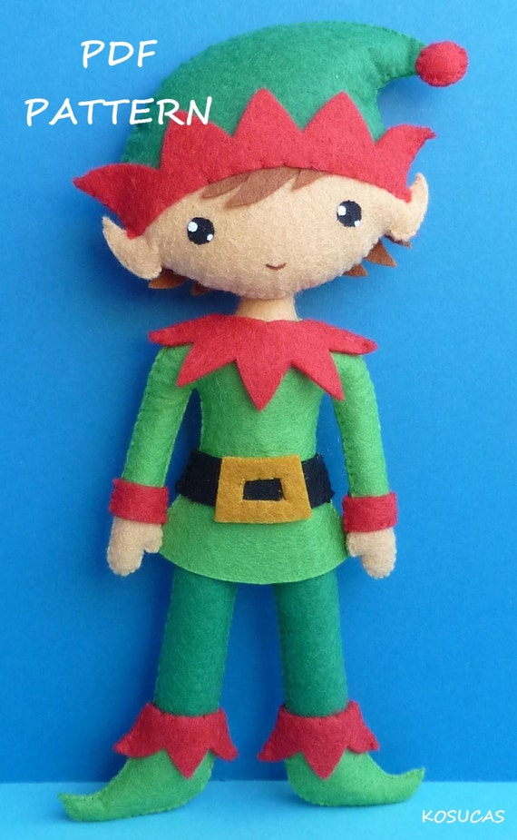 Pdf Sewing Pattern To Make A Felt Christmas Elf By Kosucas