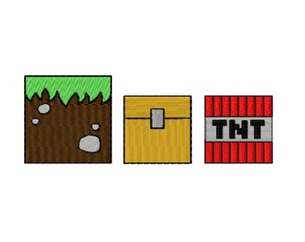 MINECRAFT BLOCKS ~ Machine Embroidery Design in 3 sizes ~ Instant Download ~ Pixel Blocks - Tnt - Grass - Treasure