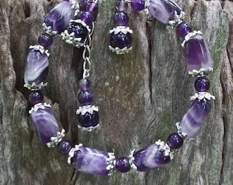 Amethyst Bracelet,Purple Bracelet,Gemstone Bracelet,February Birthstone,Amethyst,Bracelet,Silver,Purple,Stone,Reiki Attuned, Adjustable