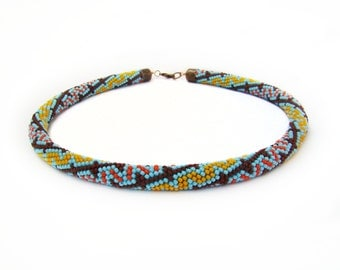 Tribal necklace Colorful beadwork necklace Seed bead crochet rope choker Zigzag necklace Bright Beaded necklace Multicolor necklace Ethnic
