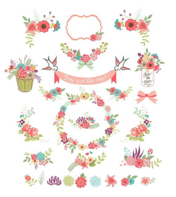 Colorful Flower Frames And Birds Digital Clipart Ribbons