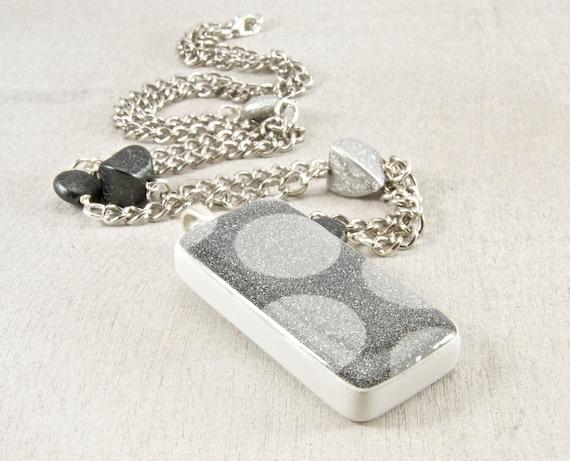 Silver Glitter Sparkle Domino Pendant Necklace