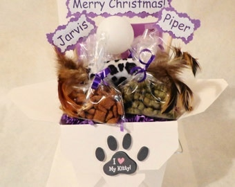 Cat gift basket, cat toys , cat treats,  cat birthday, personalized cat gift, cat nip, new cat gift, new kitten gift, cat get well gift