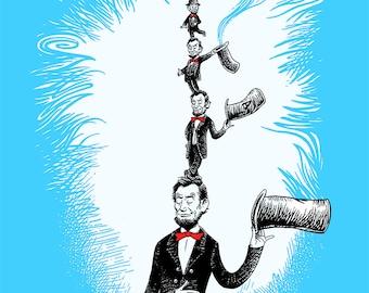 Abe in the Hat Print - 11x14 Abe Lincoln Dr. Seuss Parody Art