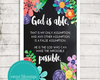 God is Able 8x10  Instant Download