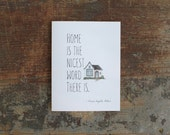 Laura Ingalls Wilder Quote Home is the Nicest Word House Warming Greeting Card Quote Housewarming Anniversary Card New Home Family Home Card