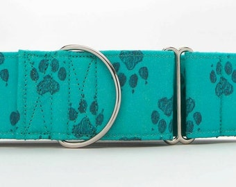 Teal Paws Dog Collar (Martingale, Buckle, or Tag)